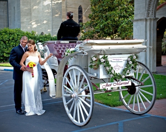 Wedding Couple carriage photo2