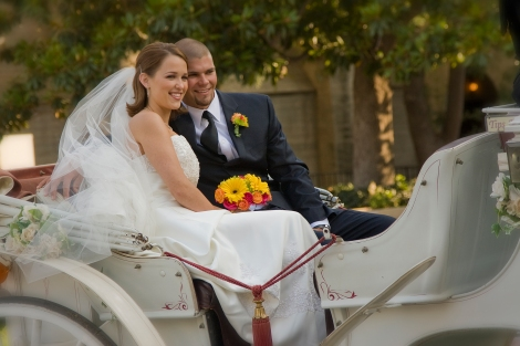 Wedding Couple in Martini Ranch Carriage